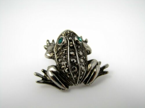 Vintage Collectible Pin: FROG Beautiful Green Eyes Design Silver Tone