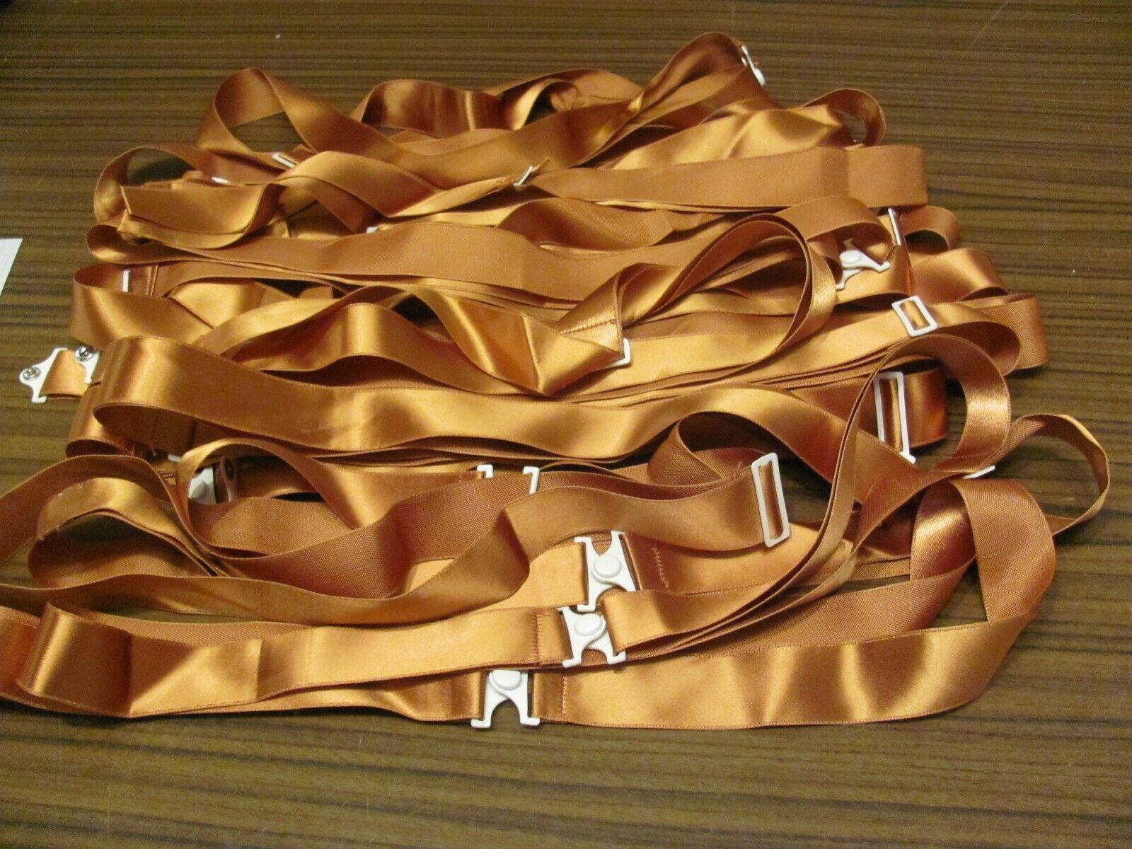 15 Wäschebänder - orange   mit Druckverschluss und Schlaufe  - alt - vintage