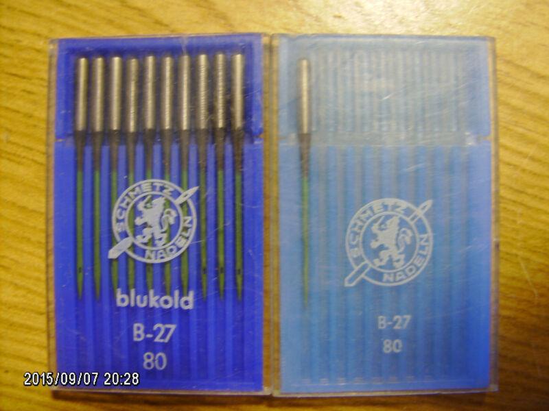 11 pc SCHMETZ sewing machine needles B-27 NM 80 BLUKOLD coated