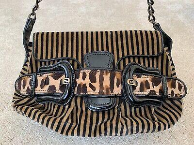 Fendi Purse Velvet Stripe Leopard Patent Leather Buckle B Bag Shoulder Bag