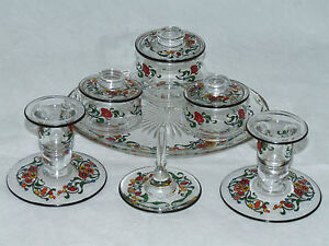 SUPERB-ART-DECO-STUART-ENAMELLED-GLASS-DRESSING-TABLE-SET