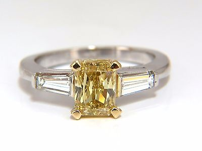 GIA Certified 2.12ct. Fancy Yellow Radiant cut diamond ring 14kt +