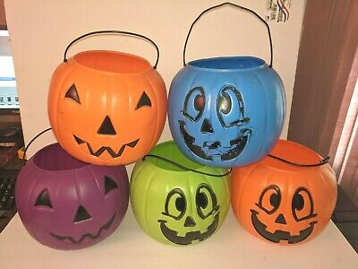 5 General Foam Pink Blow Mold Jack-O-Lantern Pumpkin Candy Treat Bucket Pails