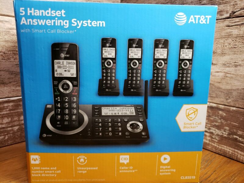 NEW AT&T CL83519 5 Handset Cordless Telephone w/ Smart Call Block C10
