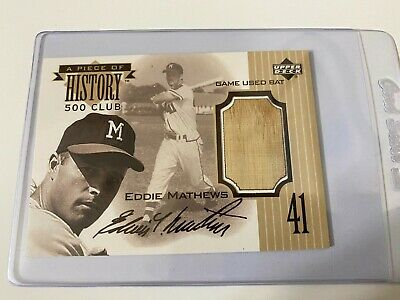 1999 Upper Deck A Piece of History 500 Home Run HR Eddie Mathews Game Used Bat