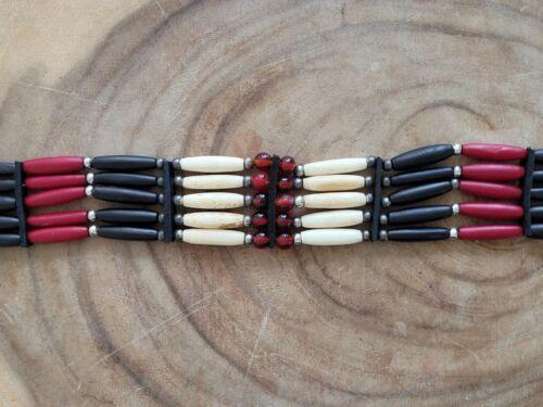 Buffalo Bone 5 Line Choker Beaded Tribal Native American Necklace Red Black