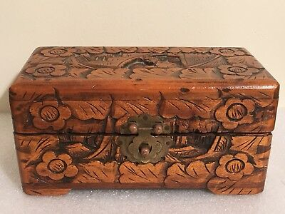Vintage/Antique Hand Carved Wooden Good Luck Chest/Box - British? Hong Kong