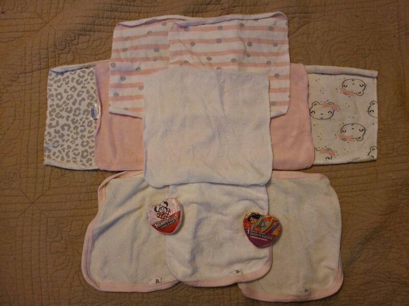 Lot Of 12 Baby Girl Infant Washcloths Gerber Burts Bees Disney Minnie Mouse Bath