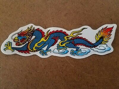 Chinese Dragon Face (Chinese Dragon (Blue) Vinyl Sticker facing Left. 5 1/8