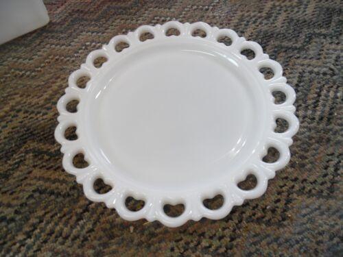 Vintage Colony open lace milk white scallop edge heart tray plate