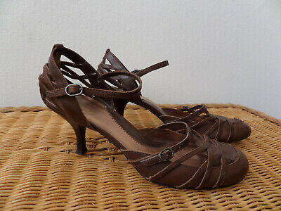 River Island Tan/Brown Strappy Leather Shoes Size UK 7