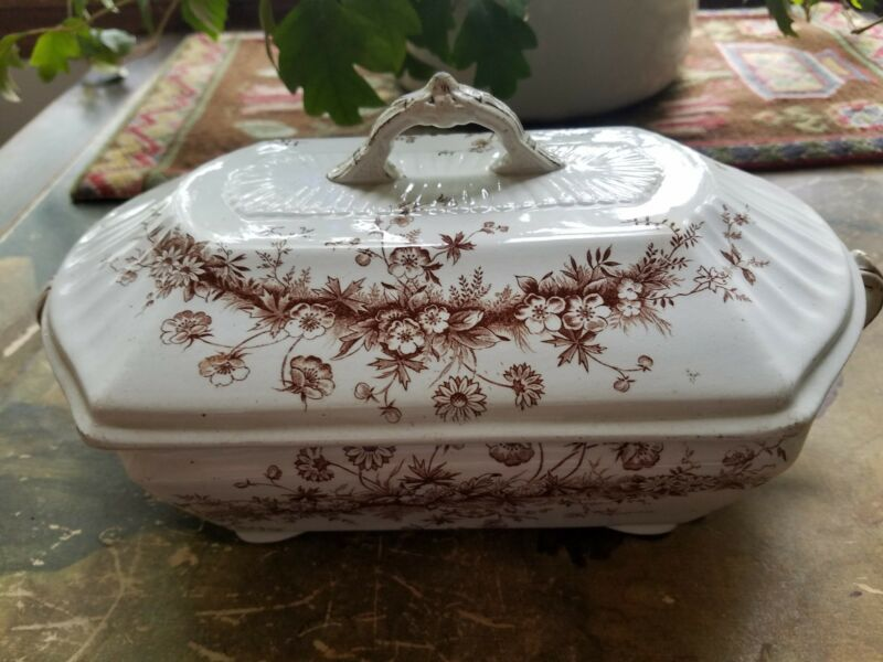 ANTIQUE W & T ADAMS TRANSFERWARE PRINCESS TUREEN COVERED SERVER 1800