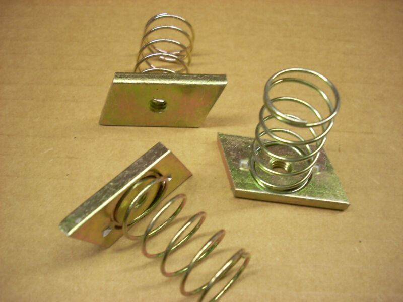 """Channel Strut Spring Nuts, 1/4"""" Thread, 1-1/2"""" Spring, Yellow Zinc, Lot of 100"""