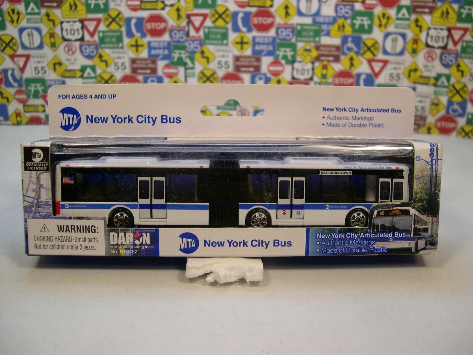 Toy Daron Mta Articulated Bus Small Car Play Game Kids Vehic