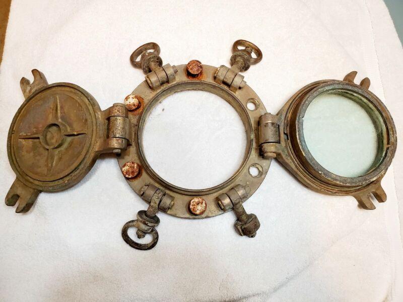 Antique Brass Ship Porthole w/ Storm Cover 4 Dog WW2 Era Vintage Steampunk