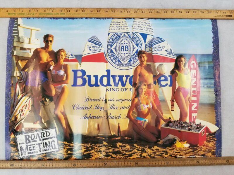 1989 Budweiser Board Meeting Surfboard Beach Poster 20x28 In
