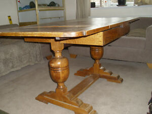 Dining Table Solid Oak Draw Leaf Vintage Seat 4 8 Extending