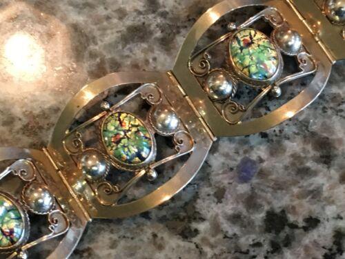 Vintage Sterling Silver Bracelet Fire Opal Foil Art Glass Made in Taxco Mexico
