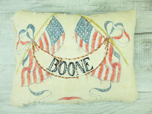 Vintage Boone Iowa Souvenir Pillow Americana Hand Embroidered Shabby Decor