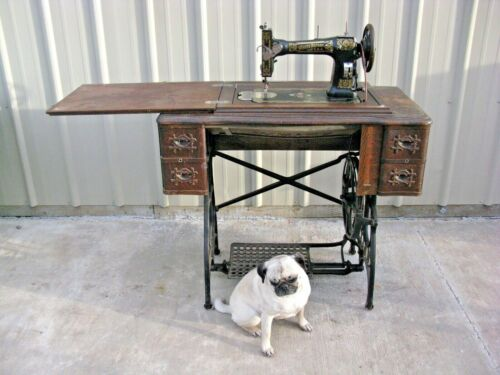 Antique White Treadle Sewing Machine