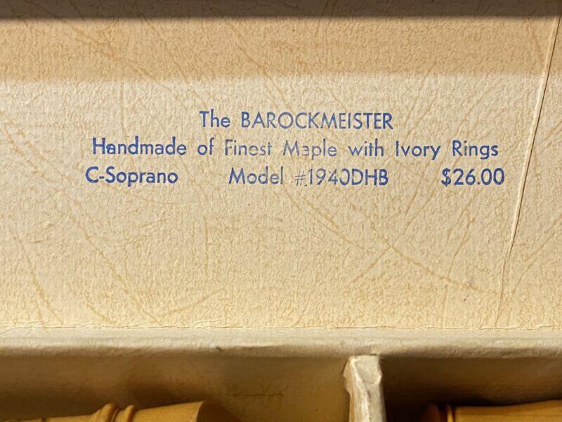 Vintage Barockmeister Soprano Maple Recorder #1940DHB