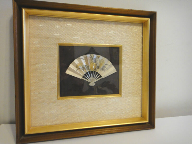 VIntage Japanese FAN (metal~signed) MID CENTURY PICTURE FRAME unique