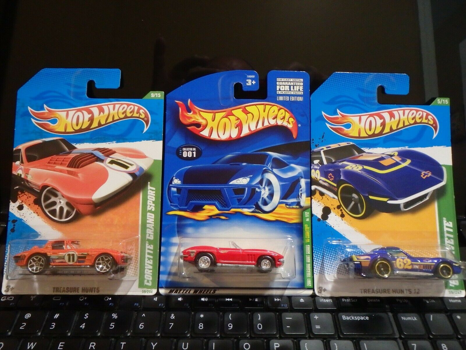 3 HIGHLY COLLECTIBLE HOT-WHEELS TREASURE HUNT CHEVY CORVETTES ALL IN ORG PKG - $29.98