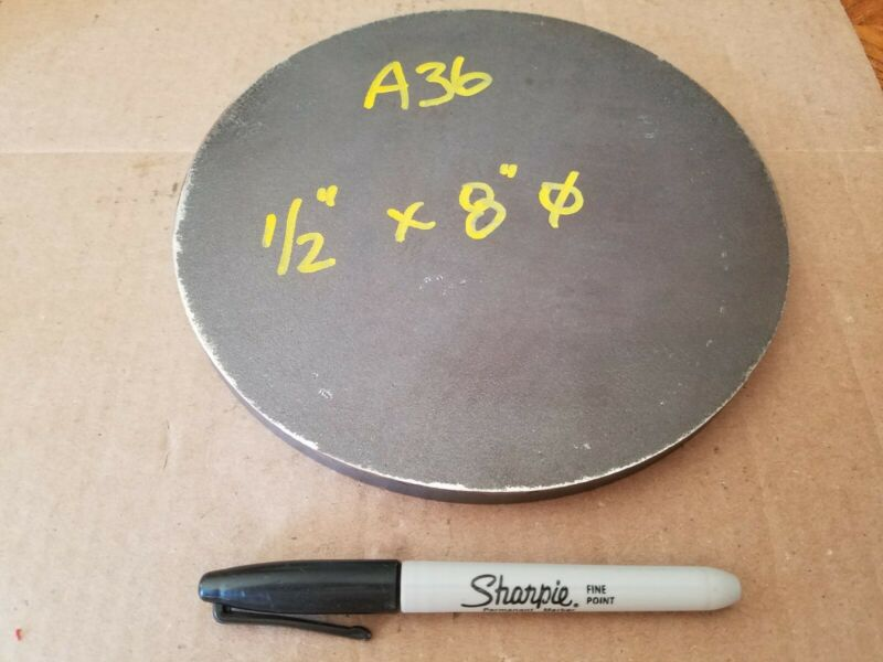 """Steel Plate Round Disc,  8"""" diameter x 1/2"""" thick, A36,   Lathe Stock"""