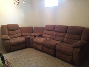 Brown microfiber reclining sectional
