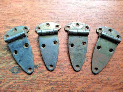 Four Antique Vintage Nickel Plated Cast Brass Cupboard or Icebox Door Hinges