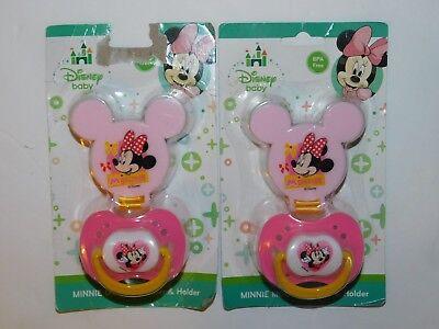 Minnie Mouse Infant Pacifiers W/ Cap & Clip TWO Pacifiers Disney