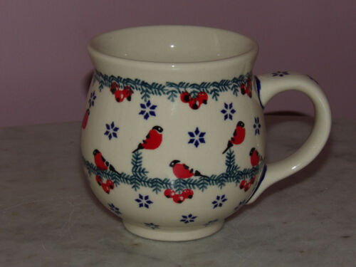 Polish Pottery 16 oz. Bubble Mug!  Cardinal Serenade Pattern!