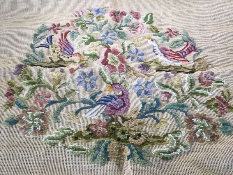 Vintage Needlepoint-Petit Point Unfinished Pillow~Chair~Seat Cover Floral Birds