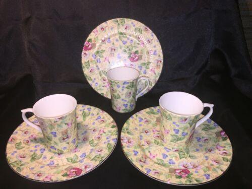 Three Elegant Crown Victorian Staffordshire England Tea cups/Coffee cups
