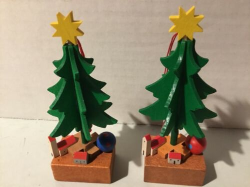 Two Vintage Germany Wooden Christmas Tree Ornament 4.25""