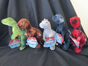 SET OF 5 JURASSIC WORLD Plush / Soft Toys - BRAND NEW WITH TAGS! OFFICIAL!
