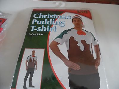 Mens Christmas Pudding Tshirt and Santa Hat - Size Medium M - New