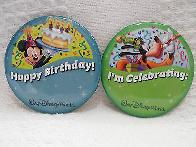 Happy Birthday Button (WDW Disney Happy Birthday Mickey & I'm Celebrating Goofy Button Pin Lot Set of)
