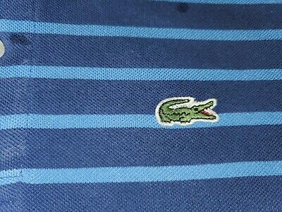 René Lacoste Men's  Polo Shirt Blue Stripe /Size 7