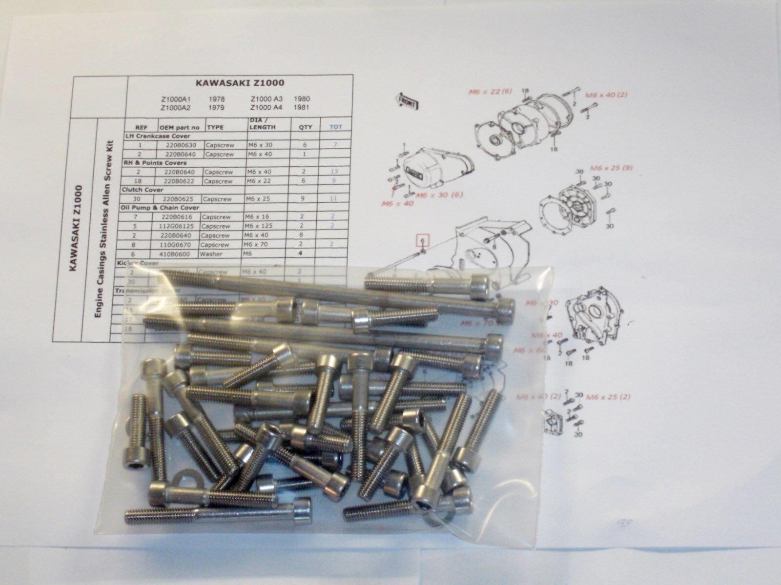 Kawasaki Z750 twin 1976-82 Engine Covers 46pc Stainless Allen Bolt Capscrew Kit