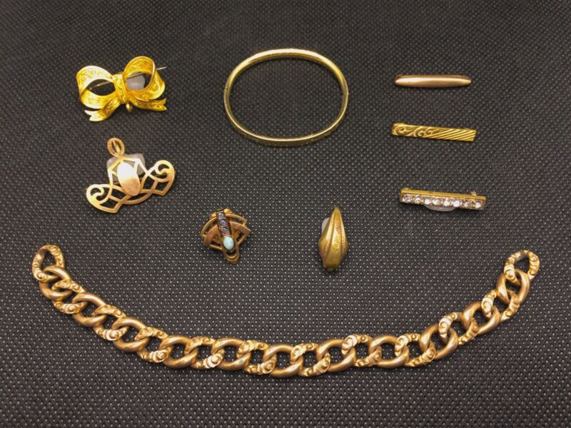 Antique Victorian Gold Fill & Gold Plate Jewelry Finding Lot Bracelet Pins Clips