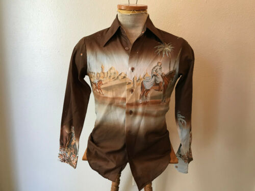 """VTG 70s Disco brown soft poly picture print shirt Nights Chemise & Cie XS Ch 38"""""""