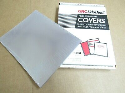 100 Clear Gbc Velobind Presentation Covers 11 X 8-12 For 11 Hole Spines