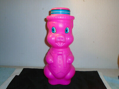 VINTAGE BRIGHT HOT PINK BLOW MOLD PLASTIC PIGGY BANK LARGE SIZE 16''](Large Plastic Piggy Banks)