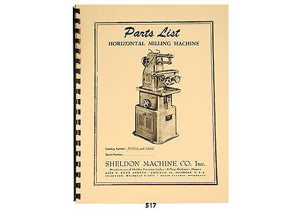 Sheldon 3000PQ & 3000P  Hoizontal Milling Machine  Parts List Manual  *517