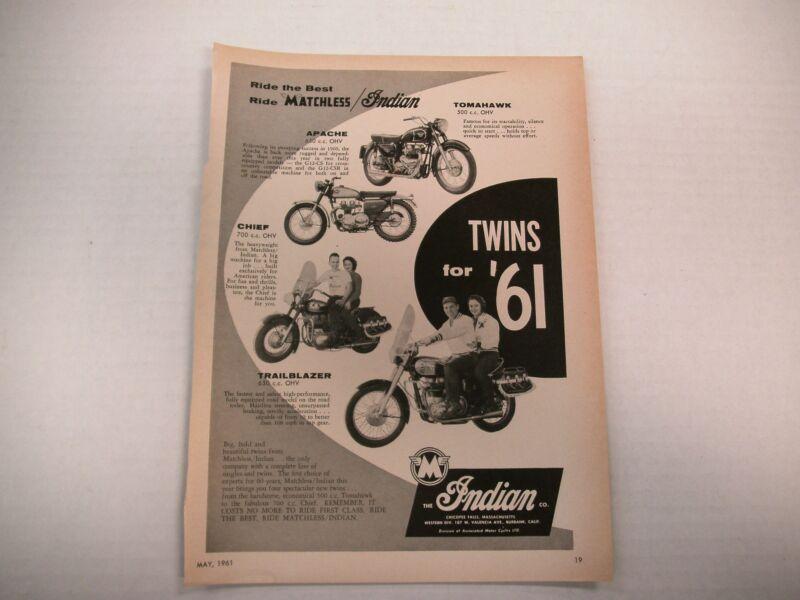 INDIAN/MATCHLESS BIG TWIN MAGAZINE AD 1961 ORIGINAL