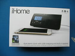 iHome IHMIHM46BC Portable USB Charging Dual Alarm Clock Speaker System