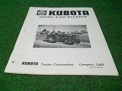 Kubota K650 Backhoe Owners Manual