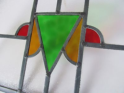 FULLY RESTORED Matching PAIR of STAINED GLASS WINDOW PANELS Hanging Hoops 1930s