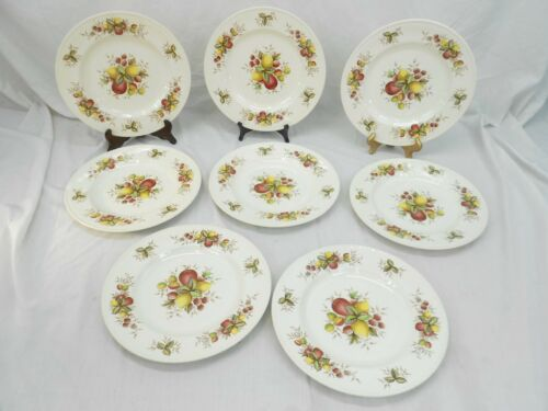 "CROWN DUCAL CHINA, MADE IN ENGLAND, CITRUS PATTERN, EIGHT 10-1/2"" DINNER PLATES"